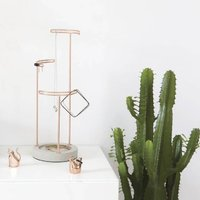 Marble And Silver Or Concrete Jewellery Stand, Silver