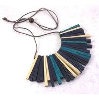 Statement Wooden Sunburst Collar Necklace