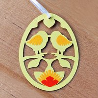 Yellow Paper Handmade Decoration With Easter Chicks