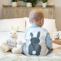 Personalised Bunny Rabbit Childrens Pyjamas, Pink/Blue