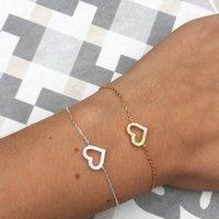 Sterling Silver Crystal Heart Bracelet, Silver