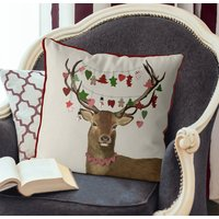 Deer And Hanging Decorations, Christmas Cushion