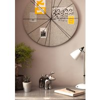 Contemporary Circular Notice Board, Grey/Teal/Charcoal