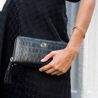 Milly Black Croc Leather Organiser Wallet