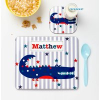 Boys Personalised Placemat And Coaster Various Designs