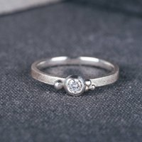 9ct White Gold Seeded Engagement Ring With Diamond, Gold