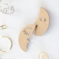 Gold Half Moon Face Earrings, Gold