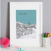 Personalised Auckland Print, Melon/Blush/Violet