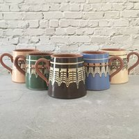 Set Of Five Colourful Ceramic Beer Tankards