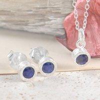 Blue Sapphire Precious Birthstone Silver Jewellery Set, Silver