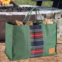 Tartan Jute Fireside Log Bag