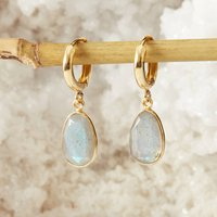 Labradorite And Gold Hoop Earrings, Gold