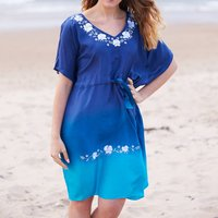 Blue Luxury Silk Hand Embroidered Kaftan