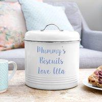 Personalised Biscuit Barrel, Orange/Baby Blue/Blue