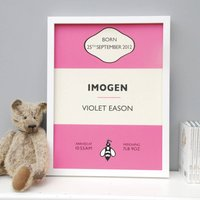 Personalised New Baby Birth Print, Blue/Green/Pink