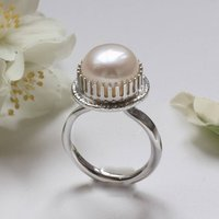 White Pearl Cocktail Ring, Silver Big Pearl Ring, Silver
