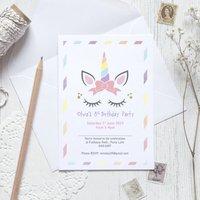 10 Unicorn Personalised Party Invites
