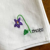 Personalised Hand Embroidered Floral Date Napkin