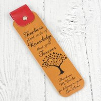Personalised Teacher Thank You Gift Leather Bookmark