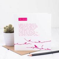 Friend Card With Friendship Poem, White/Brown