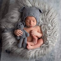 New Baby Giftset Bear Hat, Teddy Bear And Greeting Card
