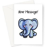 Cute Personalised Elephant Greeting Card Size A5