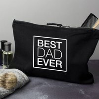 Best Dad Ever Mens Wash Bag, Black/White/Gold