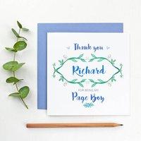 Botanical Page Boy Thank You Card, White/Cornflower Blue/Blue