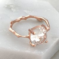 Twig Engagement Ring With Cushion Cut White Topaz