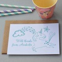 12 Personalised Flying Unicorn Thank You Cards