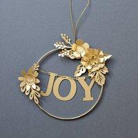 Metallic Gold Floral Christmas Hoop