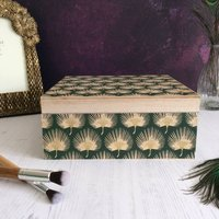Green And Gold Art Deco Design Keepsake Box, Gold