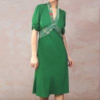 Vintage Style Montecarlo Green Crepe Day Dress