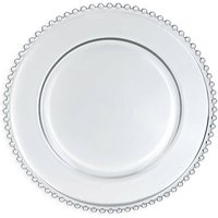 Clear Beaded Glass Charger Plate