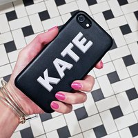 Black Pu Leather Personalised Phone Case