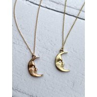 Solid Gold Moonface Necklace With Real Diamond Eye, Gold