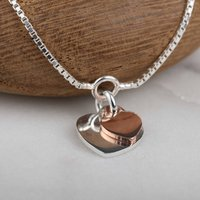 Silver And Rose Gold Twin Heart Charms Bracelet, Silver