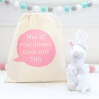 Unicorn Soft Toy And Personalised Cotton Bag