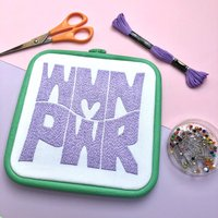 'Wmn Pwr' Embroidered Wall Art