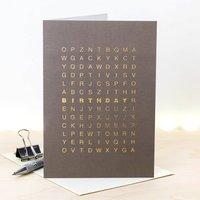 Birthday Card; Metallic Gold Foil Word Search