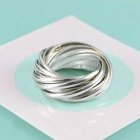 14 Interlocking Russian Links Sterling Silver Ring, Silver