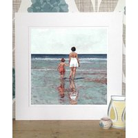 Mother And Daughter Beach Print