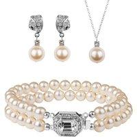 Rhinestone And Pearl Jewellery Set