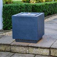 Outdoor Cube LED Garden Water Feature Dark Grey