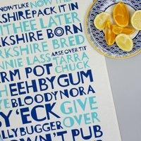 Yorkshire Tea Towel Navy And Aqua Blue