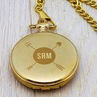 Monogramed Pocket Watch, Gold/Silver