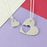 Double Heart Solid Silver Necklace, Silver