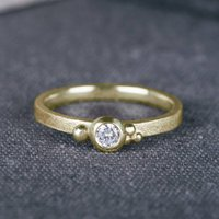 9ct Yellow Gold Seeded Engagement Ring With Diamond, Gold