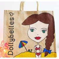 Personalised Hand Painted Dollybelles Beach Bag, Light Brown/Brown/Dark Brown