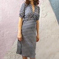 Vintage Style Day Dress In Navy Fan Print